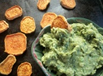 oven baked sweet potato chips & guacamole (oil free)